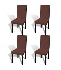 Κάλυμμα Καρέκλας Ελαστικό Ίσιο 4 τεμ. Καφέ   131426