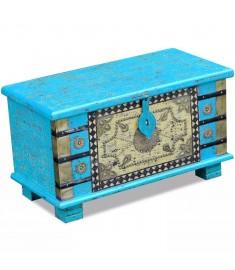Μπαούλο Αποθήκευσης Μπλε 80 x 40 x 45 εκ. από Ξύλο Μάνγκο   243332