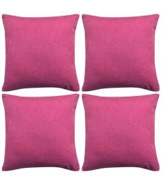 Καλύμματα Μαξιλαριών με Λινό Σχέδιο 4 τεμ. Ροζ 40 x 40 εκ.  131570