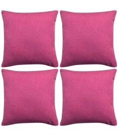Καλύμματα Μαξιλαριών με Λινό Σχέδιο 4 τεμ. Ροζ 50 x 50 εκ.