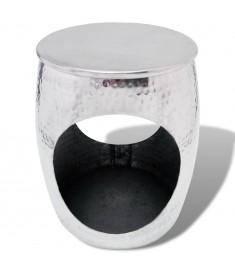 Σκαμπό/Τραπέζι Βοηθητικό σε Σχήμα Βαρελιού Ασημί από Αλουμίνιο   243504