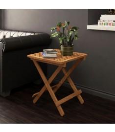 Τραπέζι Πτυσσόμενο Βοηθητικό 50x50x49 εκ. Μασίφ Ξύλο Καρυδιάς   243128