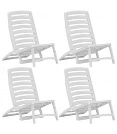 Καρέκλες Παραλίας Πτυσσόμενες 4 τεμ. Λευκές Πλαστικές  45624