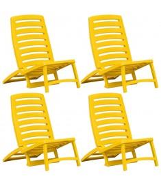 Καρέκλες Παραλίας Πτυσσόμενες 4 τεμ. Κίτρινες Πλαστικές  45625