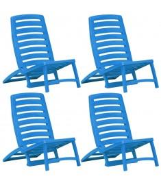 Καρέκλες Παραλίας Πτυσσόμενες 4 τεμ. Μπλε Πλαστικές  45626