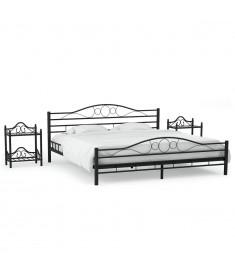 Πλαίσιο Κρεβατιού με 2 Κομοδίνα 160 x 200 εκ. Μαύρο Μεταλλικό   276028