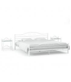 Πλαίσιο Κρεβατιού με 2 Κομοδίνα 140 x 200 εκ. Λευκό Μεταλλικό  276036