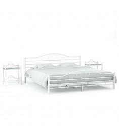 Πλαίσιο Κρεβατιού με 2 Κομοδίνα 180 x 200 εκ. Λευκό Μεταλλικό  276038