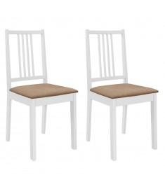 Καρέκλες Τραπεζαρίας με Μαξιλάρια 2 τεμ. Λευκές από Μασίφ Ξύλο  247634