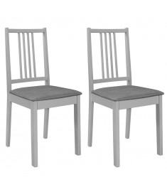 Καρέκλες Τραπεζαρίας με Μαξιλάρια 2 τεμ. Γκρι από Μασίφ Ξύλο  247638