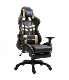 Καρέκλα Gaming με Υποπόδιο Χρυσή από Πολυουρεθάνη  20202