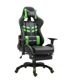 Καρέκλα Gaming με Υποπόδιο Πράσινη από Πολυουρεθάνη  20203