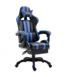 Καρέκλα Gaming με Υποπόδιο Μπλε από Πολυουρεθάνη  20216