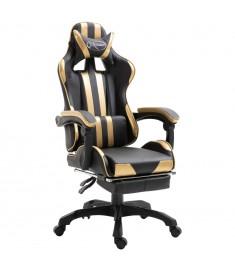 Καρέκλα Gaming με Υποπόδιο Χρυσή από Πολυουρεθάνη  20218