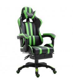 Καρέκλα Gaming με Υποπόδιο Πράσινη από Πολυουρεθάνη  20219
