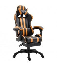 Καρέκλα Gaming με Υποπόδιο Πορτοκαλί από Πολυουρεθάνη  20222