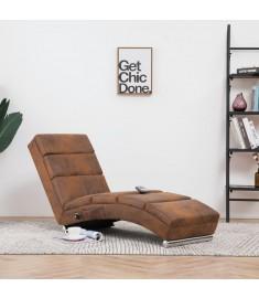 Πολυθρόνα/Ανάκλιντρο Μασάζ Καφέ από Συνθετικό Καστόρι  281299