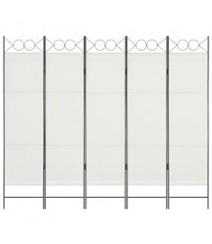Διαχωριστικό Δωματίου με 5 Πάνελ Λευκό 200 x 180 εκ.  280239
