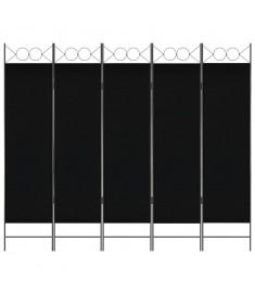 Διαχωριστικό Δωματίου με 5 Πάνελ Μαύρο 200 x 180 εκ.  280242