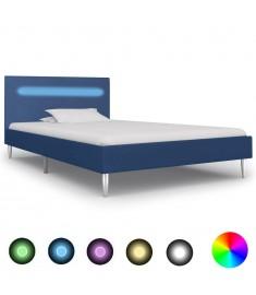 Πλαίσιο Κρεβατιού με LED Μπλε 90 x 200 εκ. Υφασμάτινο  280971