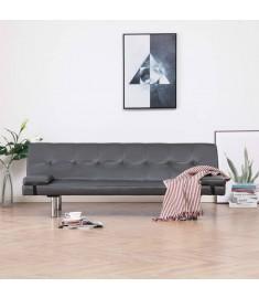 Καναπές - Κρεβάτι με Δύο Μαξιλάρια Γκρι από Συνθετικό Δέρμα  282181