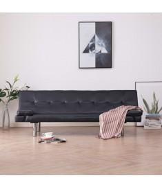 Καναπές - Κρεβάτι με Δύο Μαξιλάρια Καφέ από Συνθετικό Δέρμα  282182