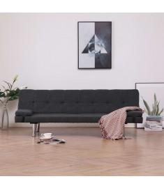 Καναπές - Κρεβάτι με Δύο Μαξιλάρια Σκούρο Γκρι από Πολυεστέρα  282184