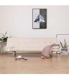 Καναπές - Κρεβάτι με Δύο Μαξιλάρια Κρεμ από Πολυεστέρα  282185