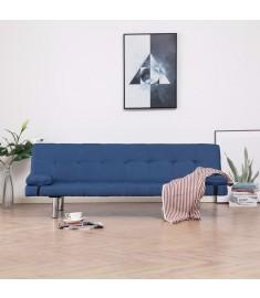 Καναπές - Κρεβάτι με Δύο Μαξιλάρια Μπλε από Πολυεστέρα  282187