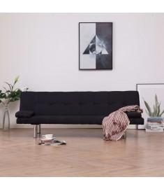 Καναπές - Κρεβάτι με Δύο Μαξιλάρια Μαύρος από Πολυεστέρα  282189