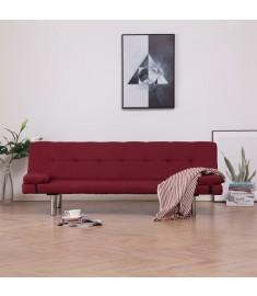 Καναπές - Κρεβάτι με Δύο Μαξιλάρια Μπορντό από Πολυεστέρα  282191