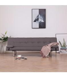 Καναπές - Κρεβάτι με Δύο Μαξιλάρια Χρώμα Taupe από Πολυεστέρα  282192