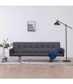 Καναπές - Κρεβάτι με Μπράτσα Γκρι από Συνθετικό Δέρμα  282215