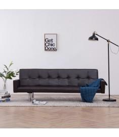 Καναπές - Κρεβάτι με Μπράτσα Καφέ από Συνθετικό Δέρμα  282216