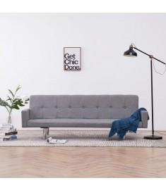 Καναπές - Κρεβάτι με Μπράτσα Ανοιχτό Γκρι από Πολυεστέρα  282217