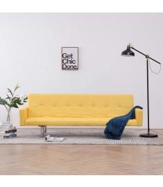 Καναπές - Κρεβάτι με Μπράτσα Κίτρινος από Πολυεστέρα  282224