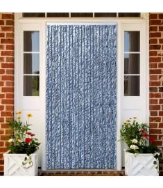 Σήτα - Κουρτίνα Πόρτας Μπλε/Λευκό/Ασημί 100 x 220 εκ. από Σενίλ  284275